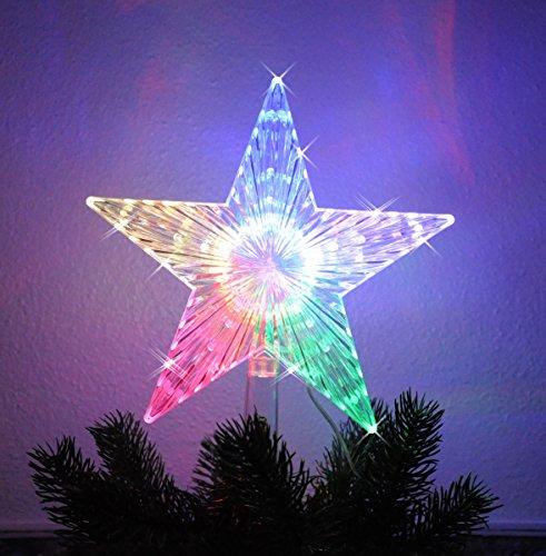 Christbaumspitze Stern beleuchtet 22 cm Bunt Farbwechsel Weihnachtsbaum Spitze (Lila Weihnachten Jack)
