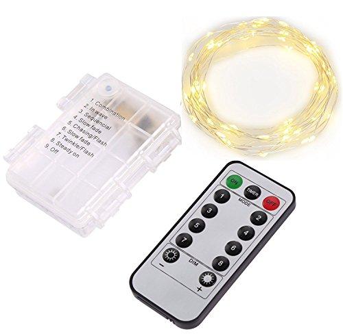 XKTTSUEERCRR 5M 66 LED Durchsichtige Fernsteuerbare LED Lichterkette Batteriebetrieben mit Timer für Haus Garten Innen- / Außeneinsatz (Warmweiß)