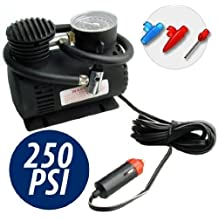 Takestop® Mini compresor negro 12V 250PSI con toma de mechero para coche moto camper camping pequeño ligero y portátil emergencia