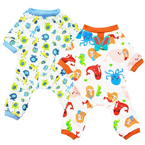 Scheppend Hund Kleidung Hund Schlafanzug Puppy Dog Pyjamas Cozy Jumpsuits weich Haustier Schlafanzug Kleidung für kleine Hunde und Katzen 2er Pack