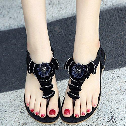 COOLCEPT Femmes Mode Tongs Slingback Sandales Elastique Dentelle Floral Chaussures for Fille Noir