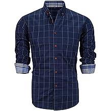Schonlos Herren Hemd kariert Kentkragen Langarm Shirts slim fit Businesshemd aus Baumwolle