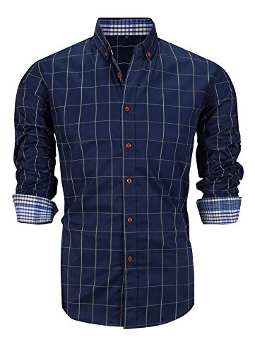 Schonlos Herren Hemd Kariert Kentkragen Langarm Shirts Businesshemd Aus Baumwolle(Dunkelblau,XL)