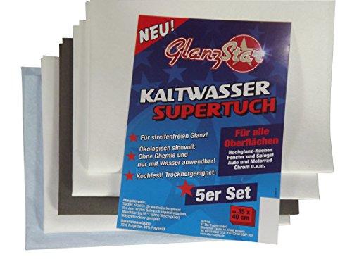 GLANZSTAR Kaltwasser Supertuch Streifenfrei Kochfest 5er Set Fenster + Glastuch