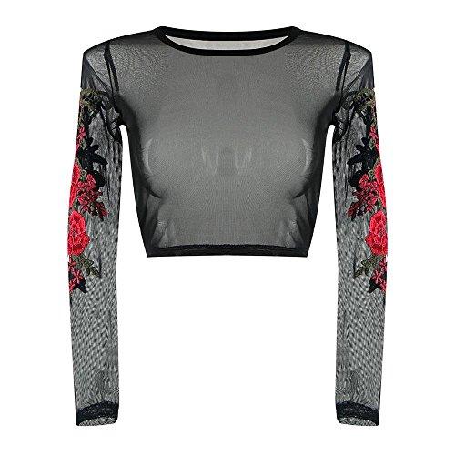 OVERDOSE Frauen Spitze Appliques Rose Langarm Tops Shirt Bluse Frühling Sommer Pulli Oberteile(A-Black,EU-36/CN-M)