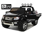 Ford Ranger Wildtrak Elektrisches Auto für Kinder, 2 MOTOREN, Zweisitzer, 2.4Ghz Bluetooth Fernbedienung, schwarz, USB, SD karte, Original-Ford-Lizenz