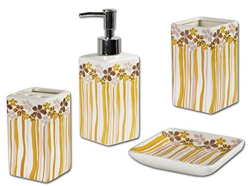 Portasapone Bagno In Ceramica.Vetrineinrete Set 4 Pezzi Accessori Bagno In Ceramica