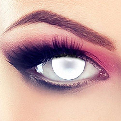 Taffstyle® Farbige Linsen crazy Fun Halloween Karneval Kostüm Kontaktlinsen Motivlinsen 3 Monatslinsen ohne Stärke Weiß - Blind White Eye