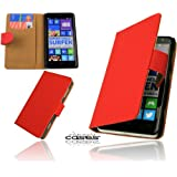 Premium Book Case Handytasche für Nokia Lumia 625 Schutzhülle Etui Wallet Cover Handyhülle Hülle Tasche mit Kartenfach und Magnetverschluss in Rot