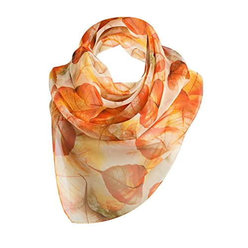 Brightup Blätter Drucken Lange Schal Frauen Silk Schals Frühlings Sommer Mädchen Schal (Und Cardigan Cashmere Seide Wrap)