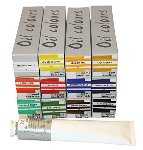 Feine ÖLFARBE 12 Tuben a 150 ml, original MAGI Farben, MEGA-SET -