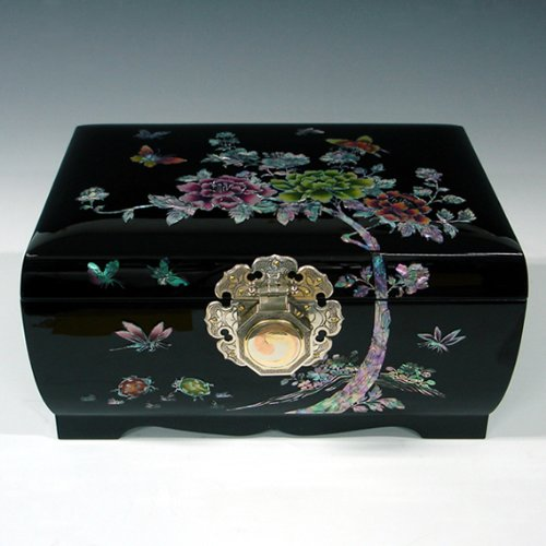 Incrustations de nacre décoratif Motif pivoine Noir laqué Asie Art fait à la main en bois de bijoux-Yin Yang Porte-clés souvenir à Bijoux Coffre Trésor Boîte de rangement rigide