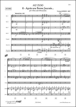 Descargar Libro PARTITURA CLASICA - Au ZOO - No. 8 - Après une Bonne Journée - N. JARRIGE - Wind Band de Unknown