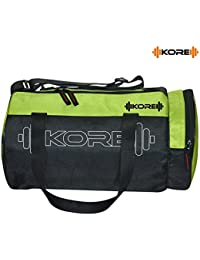 Kore Fusion-5.1 Gym Bag with One Side Pocket, One Side Ventilated Mesh and Carry Handels (Green/Black)