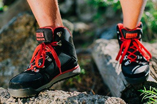 GUGGEN MOUNTAIN Pataugas Chaussures de randonnee Chaussures montantes Hiking Boots M010 Bottes et boots Homme Noir-Rouge