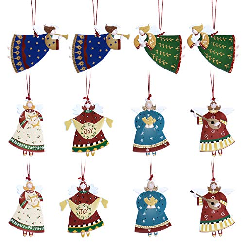 Tinksky Christmas Tree Ornaments Hanging Angel Pendants for Christmas Tree Home Decoration, 12 Count
