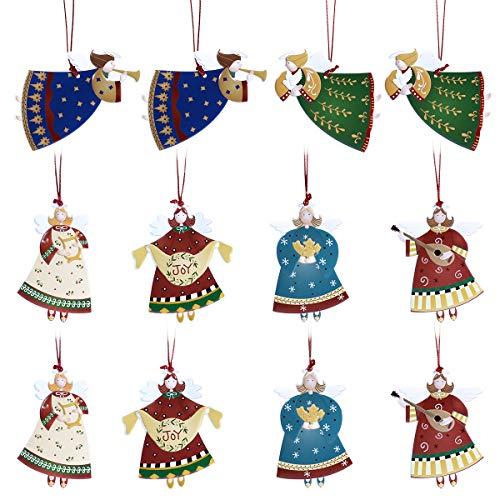 (Amosfun Hängende Engel Anhänger Weihnachtsfeier Dekor hängende Ornamente Für Weihnachtsbaum Dekoration, Packung Mit 12)