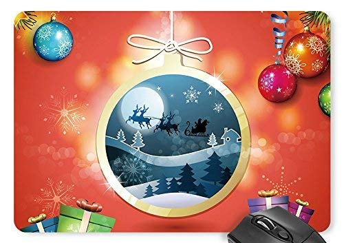 Drempad Gaming Mauspads Custom, Christmas Tree Colored Balls Light Gifts Ribbons Stars Lanyard Houses Santa Claus Elk Sleigh Snowflakes Moon Mouse Pad 9.8×8.3 inches Game Mouse Mat