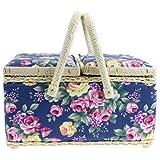 Floral Doble con tapa Costura Cesta con doble Asas en 2 Colores - Flores Azules