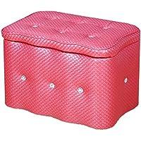 Preisvergleich für Yuan Polsterhocker Lederablage Hocker Schuhbank Foyer Sofa Hocker Wohnzimmer Schlafzimmer Schminktisch Einkaufszentrum Schuhgeschäft Fußbank/Hocker (Farbe : Rose rot, größe : 60 * 40 * 42cm)