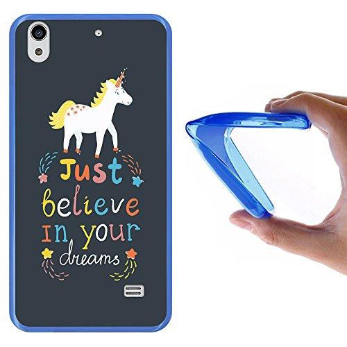Huawei Ascend G620S Hülle, WoowCase Handyhülle Silikon für [ Huawei Ascend G620S ] Motivierungssatz - Just Belive in Your Dreams Handytasche Handy Cover Case Schutzhülle Flexible TPU - Blau