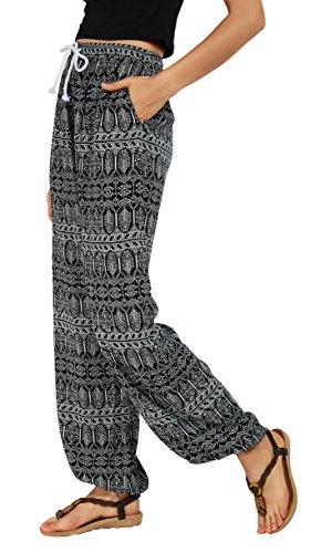Urban goco pantaloni da donna smocked waist boho spiaggia harem pants (s, 1)