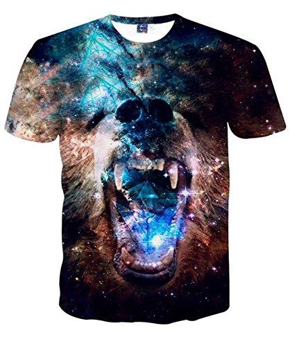 Herren Casual 3D Galaxie Bär Drucken Kurzarm T-Shirt T shirt 4XL (Aeropostale Rock)