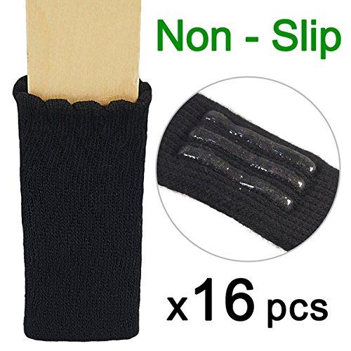 Rabi 16pcs Strickwolle Möbel-Socken/Zuverlässiges Stuhl-Bein Bodenschutz, Holzfußboden Schutz mit nettem Design, elastische Stuhl Möbel Socken Sets, vertikal gestrickt und Geräusche unterdrücken (schwarz)