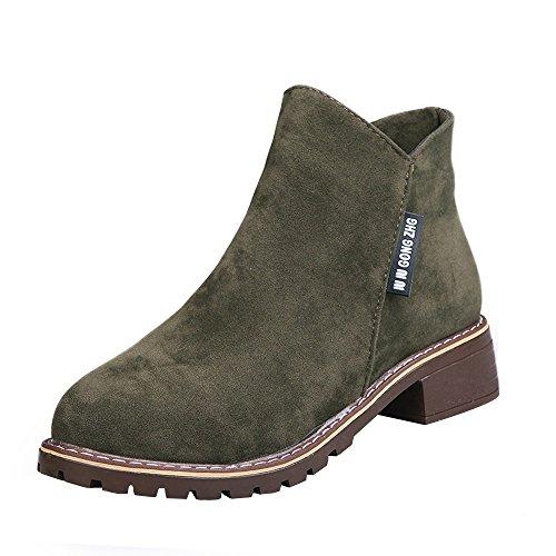 Stiefel Damen Boots Mode Frauen niedrige Knöchel trimmen Runde Kappe Knöchel Leder Stiefeletten Casual Martin Schuhe ABsoar