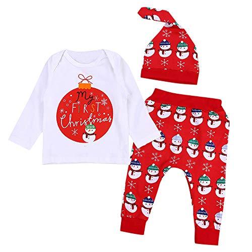 Doing1 Neugeborene Kleidung Schlafstrampler Babyklamotten 3 Stück Säugling Junge Mädchen Langarmshirt Top Schneemann Drucken Hose Hut Weihnachten Kostüm Outfits Set Kleider (70CM 6 Monate, Weiß)