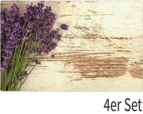 matches21 Tischsets Platzsets MOTIV Lavendel Holz Holzbrett weiß Vintage 4er Set Kunststoff je 43,5x28,5 cm abwaschbar