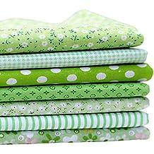 Tela paquete de la Serie 7 Surtido Per-Cut Fat Quarters Bundle Flor del remiendo 50x50cm verde