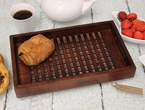 Sheesham Holz Sockel (handgefertigt aus Holz Tablett 33cm Latice Ausführung Sockel Sheesham massiv braun Holz)