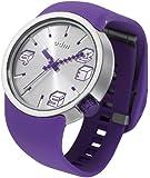 ODM Unisex Armbanduhr Analog Automatik Cubic Silver Dial Analog-Anzeige und Lila-Silikon-Armband DD 136-04