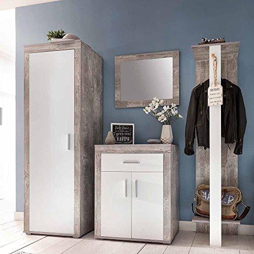 Pharao24 Garderobenset in Weiß Grau Beton kaufen