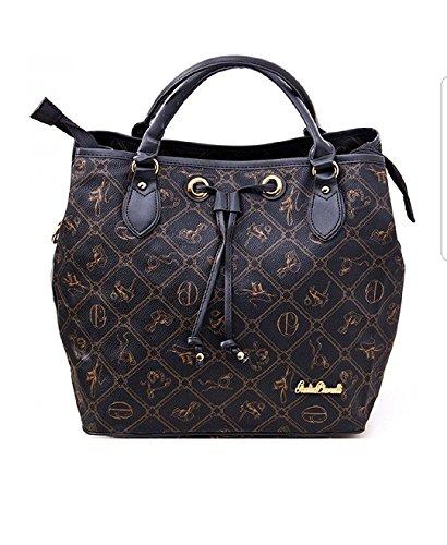#407 Giulia Pieralli Damen Handtasche Damentasche Tasche Beuteltasche Kunstleder (Schwarz)