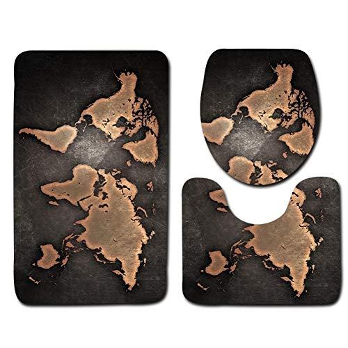 WWDDVH 3 Teile/Satz Weltkarte Gedruckt Badezimmer Teppich Set Rutschfeste Wc-Decke Deckel Toilettendeckel Bad Badematten Pad Home Decor-World Map 0E - Gedruckt Badezimmer-teppiche