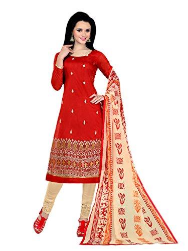Applecreation Women's Chanderi Cotton Salwar Kameez (Red, 11AKS11001)