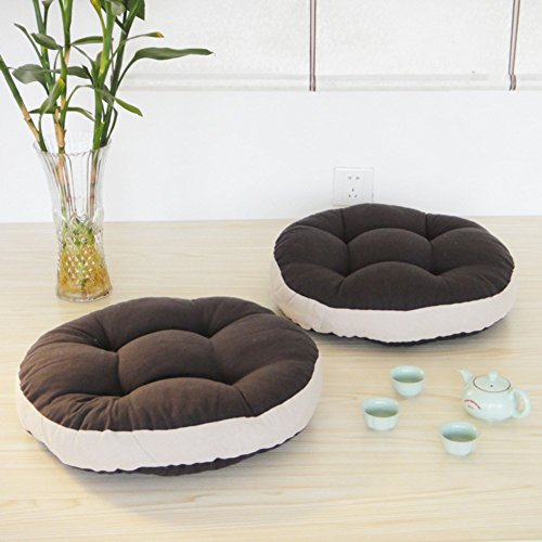 LELI Rundes Kissen,Stuhlkissen,KomFürtable Polster Weicher Sitz Sofa Gesteppte Design Für Küche Garten Office(Set 2-A Durchmesser:45cm(18inch) -