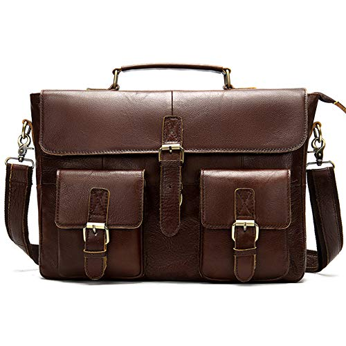 ZJPP Leder Aktentasche für Männer, Frauen handgefertigte Leder Umhängetasche, Laptop besten Computer Satchel Schule Distressed Bag,COL2 - Distressed Satchel