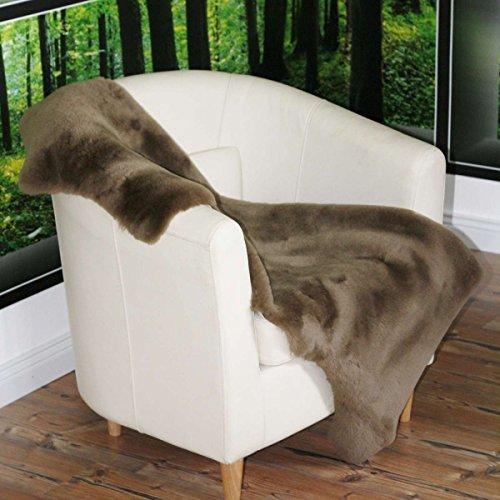 Lammfell Braungrau geschoren 100-110 cm Merino Schaffell Naturfell Deko Läufer Teppich Sitzunterlage