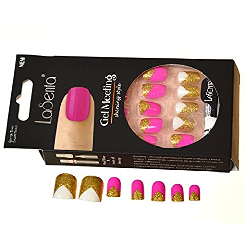 LaSenta® Full False Nails Natural Acrylic Manicure Design Multi Colour And Gold Glitter Abstract
