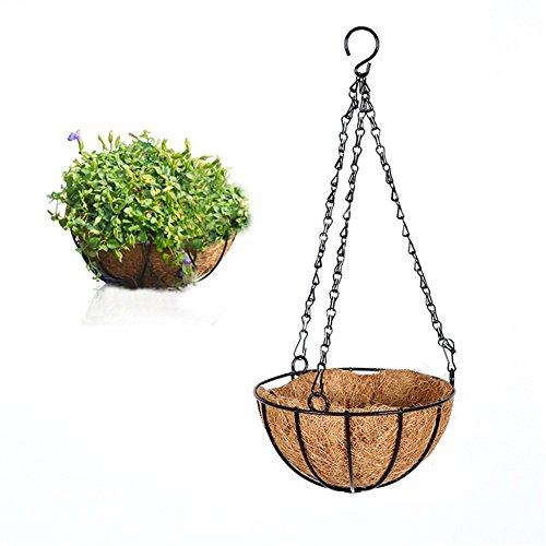 Cestino da appendere all'aperto in palma da cocco, portavaso decorativo da appendere, cesto per balcone per fiori/piante/spezie/erbe/verdure