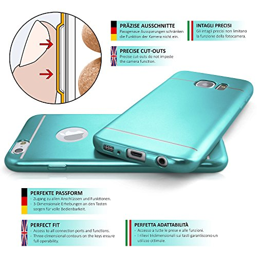 iPhone 4S Hülle Silikon Silber [OneFlow Smooth Back-Cover] Chrom Matt Silikonhülle Ultra-Slim Schutzhülle Metallic Handy-Hülle für iPhone 4/4S Case Dünn AQUA-CYAN