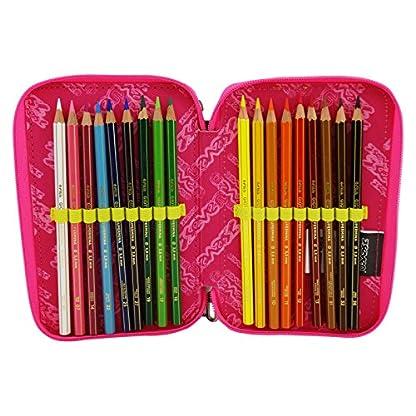 Seven Bundle Girl Estuche Escolar Làpices de colores Plumier Triple para Ninos Negro