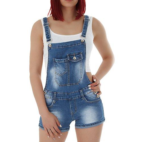 malucas Damen Jeans Shorts Hotpants Kurze Hose Latzhose Jumpsuit Overall , Größe:42, Farbe:Blau