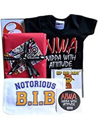NWA baby gift box Nippa With Attitude babygrow, Notorious B.I.B. HipHop music CD & sticker (0-6 months)