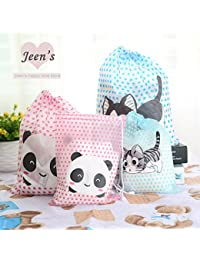 EasyBuy India S, Pink Panda : 1 Pcs Cute Cat Panda Polka Dot PVC Waterproof Drawstring Bag Travel Storage Bag...