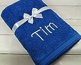 ★ Handtuch mit Namen bestickt ★ Badetuch ★ Duschtuch ★ Geschenk ★ 550 g/m2 ★ (Blau)