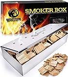 Affumicatore Barbecue - Smoker Box per Affumicare la Carne alla Griglia e Ottenere Un Sapore Delizioso - Prodotto Robusto in Acciaio Inox e Coperchio Incernierato - Adatto per Tutti i Tipi di BBQ